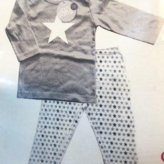 Lazywear Baby Jongens Pyama Set - Broekje + Shirt - Stoer Grijs met ster - 100% Katoen - Maat 62/68