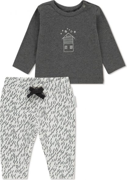 Noppies Unisex T-shirt lange mouw met all over print broek Queluz - Grey Melange - Maat 62