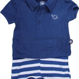 Romper polo short donkerblauw 98/104
