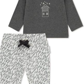 Noppies Unisex T-shirt lange mouw met all over print broek Queluz - Grey Melange - Maat 68