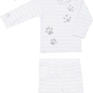 Frogs & Dogs - kraamcadeau - baby - meisjes - broek + Lucky shirt + muts - Glitter - streep/wit - maat 62