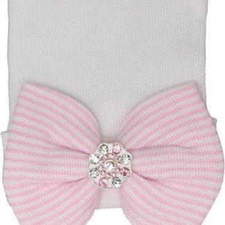 Geboortemuts / babymuts / ziekenhuismuts wite met roze strik en steentjes - 0 tot 1 maand