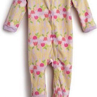Meisjes pijama fleece met Bloemen ontwerp (maat 6-12 maanden)