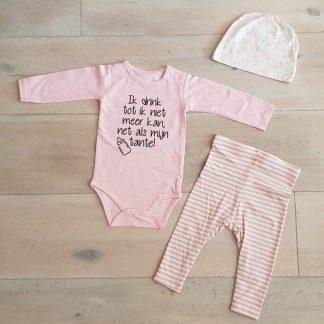 Baby Meisjes Setje 3-delig newborn | maat 74-80 | roze mutsje beertje roze broekje streep en roze romper lange mouw met tekst zwart ik drink tot ik niet meer kan net als mijn tante