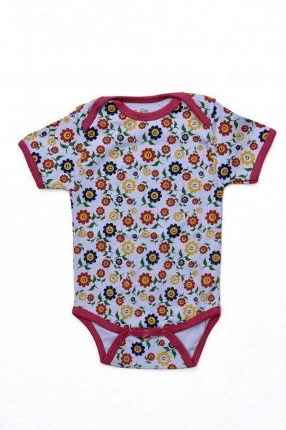 Baby Romper Biowolk Funny Flowers Korte Mouw Maat 56