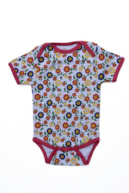 Baby Romper Biowolk Funny Flowers Korte Mouw Maat 62