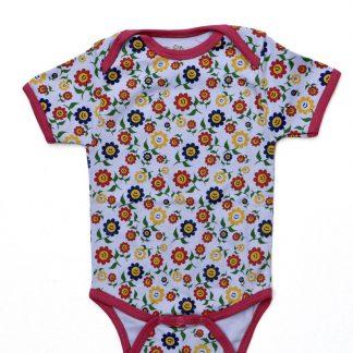 Baby Romper Biowolk Funny Flowers Korte Mouw Maat 80