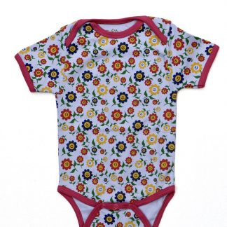 Baby Romper Biowolk Funny Flowers Korte Mouw Maat 86