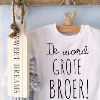Baby Romper tekst opdruk boodschap Ik word grote broer   korte mouw   zwart wit   maat 98-104 cadeau jongen