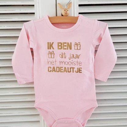 Baby Rompertje meisje Ik ben dit jaar het mooiste cadeautje | Lange mouw | roze met goud | maat 86-92 |voor de eerste 1e verjaardag 1 een jaar jarig party Cakesmash outfit / first birthday