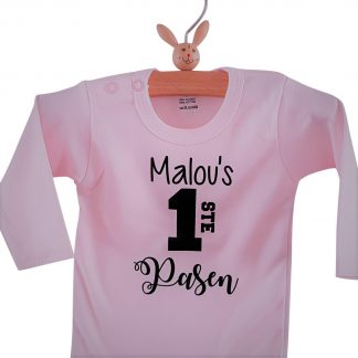 Baby Rompertje tekst roze meisje | Mijn eerste pasen | lange mouw | roze zwart met naam | maat 62/68