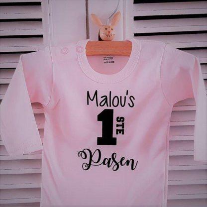 Baby Rompertje tekst roze meisje | Mijn eerste pasen | lange mouw | roze zwart met naam | maat 74-80