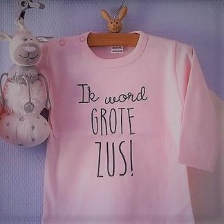 Baby rompertje Hoera ik word grote zus meisje - Zwangerschapsaankondiging | Lange mouw | roze | maat 98-104 zwangerschap aankondiging