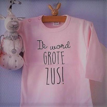 Baby rompertje Hoera ik word grote zus meisje - Zwangerschapsaankondiging   Lange mouw   roze   maat 98-104 zwangerschap aankondiging