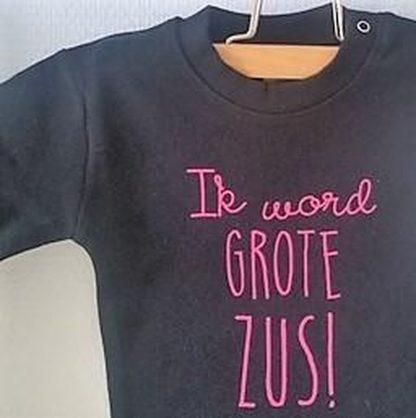 Baby rompertje Hoera ik word grote zus meisje - Zwangerschapsaankondiging | korte mouw | zwart met roze | maat 98-104 zwangerschap aankondiging