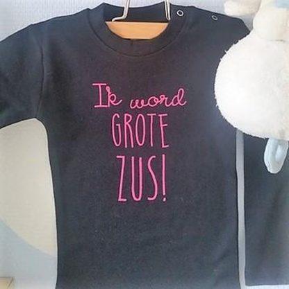 Baby rompertje Hoera ik word grote zus meisjes - Zwangerschapsaankondiging | Lange mouw | zwart donker roze print | maat 98-104 zwangerschap aankondiging rose