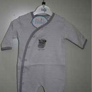Babypak grijs wit streep met Hippo Born to Luddle mt 44 (prematuur)