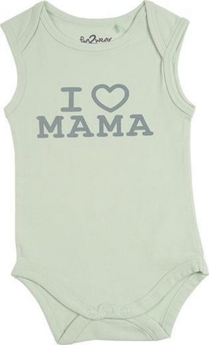 Fun2Wear Unisex Romper love mama - Groen - Maat 74