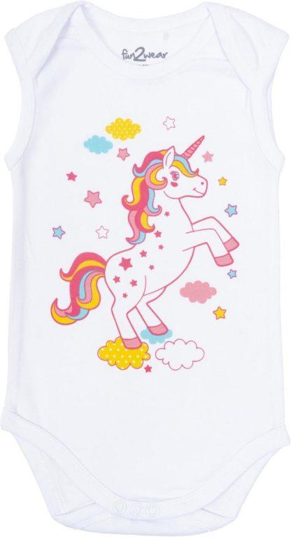 Fun2Wear unicorn romper wit - Maat 86/92