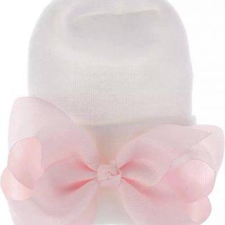 Geboortemuts / babymuts / ziekenhuismuts wit met roze strik - Extra dikke stof - 0 tot 1 maand