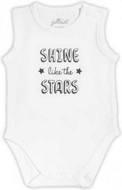 Jollein Kado Rompertje mouwloos Shine like the star - wit met print - maat 62/68 - biologisch katoen met elastaan