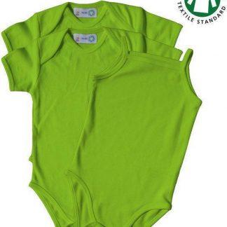 Link Kidswear Meisjes 3-pack Romper GOTS - Lime Groen - Maat 74/80