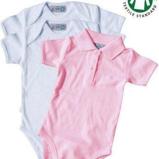 Link Kidswear Meisjes 3-pack Romper GOTS - Wit En Babyroze - Maat 62/68