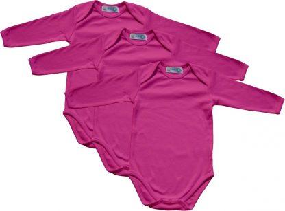 Link Kidswear - Meisjes lange mouw romper van biologisch katoen - maat 62/68 - cherry - 3 stuks