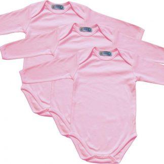 Link Kidswear - Meisjes lange mouw romper van biologisch katoen - maat 74/80 -baby roze - 3 stuks