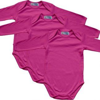 Link Kidswear - Meisjes lange mouw romper van biologisch katoen - maat 74/80 - cherry - 3 stuks