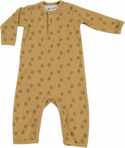 Lodger Baby Jumpsuit 2-4 maanden - Jumper Rib - 100% Katoen - Handige Overslag - Drukknoopjes - Oeko-Tex - Okergeel - maat 62