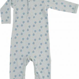 Lodger Baby Playsuit 4-6 maanden - Jumper Rib - 100% Katoen - Handige Overslag - Drukknoopjes - Oeko-Tex - Blauw - maat 68