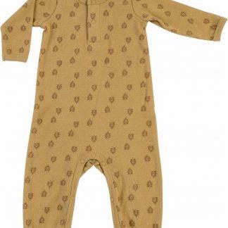Lodger Baby Playsuit 4-6 maanden - Jumper Rib - 100% Katoen - Handige Overslag - Drukknoopjes - Oeko-Tex - Okergeel - maat 68