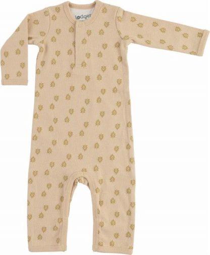 Lodger Baby Playsuit 4-6 maanden - Jumper Rib - 100% Katoen - Handige Overslag - Drukknoopjes - Oeko-Tex - beige - maat 68