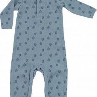 Lodger Jumpsuit Baby 0-2 maanden - Jumper Rib - 100% Katoen - Handige Overslag - Drukknoopjes - Oeko-Tex - Blauw - maat 56