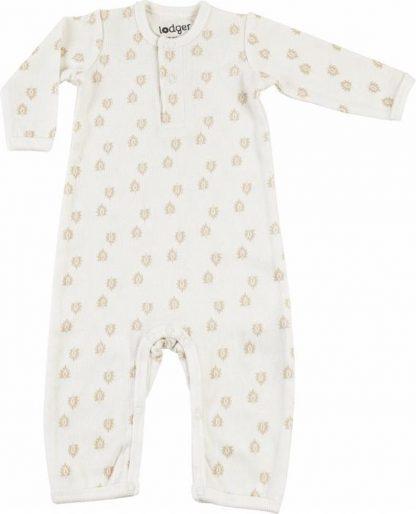 Lodger Jumpsuit Baby 0-2 maanden - Jumper Rib - 100% Katoen - Handige Overslag - Drukknoopjes - Oeko-Tex - Wit - maat 56