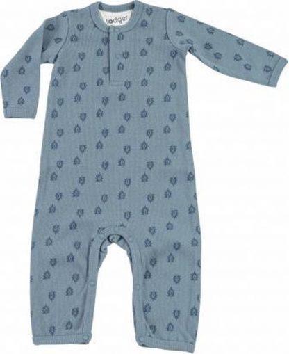 Lodger Playsuit Baby 2-4 maanden - Jumper Rib - 100% Katoen - Handige Overslag - Drukknoopjes - Oeko-Tex - Blauw - maat 62