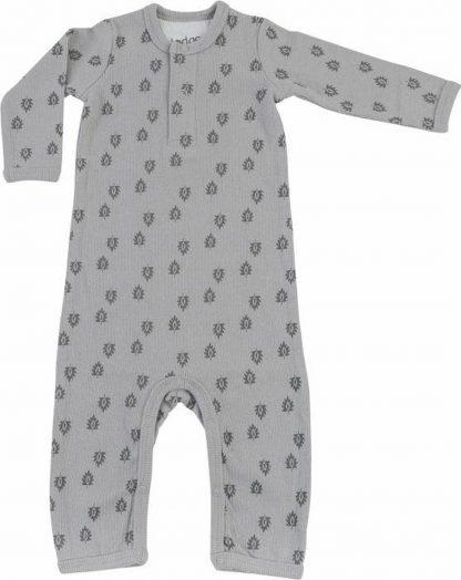 Lodger Playsuit Baby 2-4 maanden - Jumper Rib - 100% Katoen - Handige Overslag - Drukknoopjes - Oeko-Tex - Grijs - maat 62
