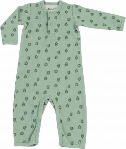 Lodger Playsuit Baby 2-4 maanden - Jumper Rib - 100% Katoen - Handige Overslag - Drukknoopjes - Oeko-Tex - Groen - maat 62
