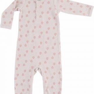 Lodger Playsuit Baby 2-4 maanden - Jumper Rib - 100% Katoen - Handige Overslag - Drukknoopjes - Oeko-Tex - Roze - maat 62