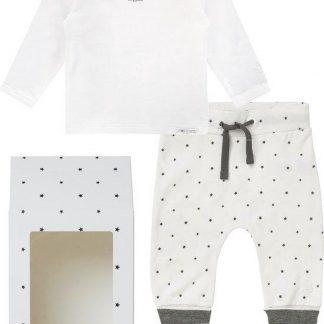 Noppies GiftSet(2delig) Unisex Shirt Wit Broek Wit sterretjes - Maat 62