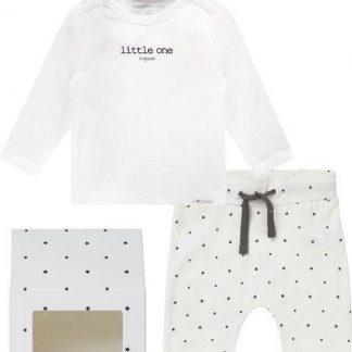 Noppies GiftSet(3delig) Unisex Shirt Wit Broek en Muts Wit sterretjes - Maat 62