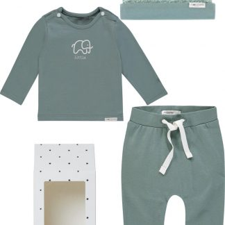 Noppies Giftset (3delig) Unisex Broek Groen, Shirt Groen, Muts Mint Grijs - Maat 62