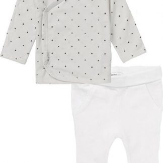 Noppies Set(2delig) Unisex Shirt Wit sterretjes Broek Wit - Maat 62