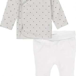Noppies Set(2delig) Unisex Shirt Wit sterretjes Broek Wit - Maat 68