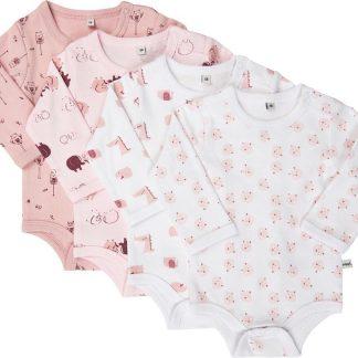 Pippi Rompers Lange Mouw Meisjes Katoen Roze 4 Stuks Maat 98