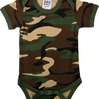 Romper Baby camouflage woodland met korte mouw-56