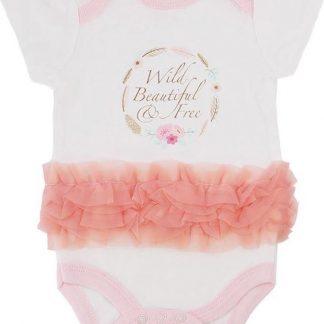 Rompertje Baby Meisje 'Wild, Beautiful & Free' - Wit/Roze - Maat 56/62 (0-3 maanden)