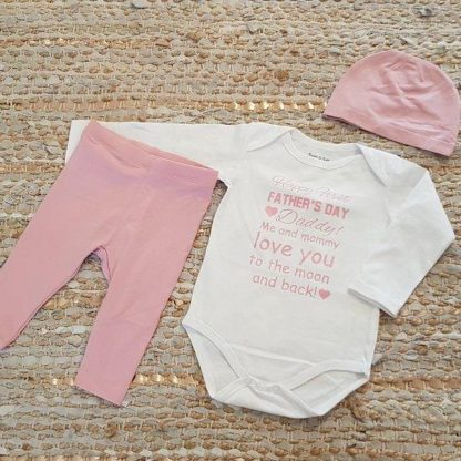 Set met baby romper tekst voor meisje cadeau papa eerste fijne vaderdag roze first 62