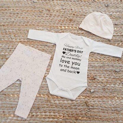 Set met baby romper tekst voor meisje cadeau papa eerste roze fijne vaderdag beer 62